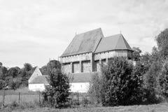 Warowny średniowieczny saxon kościół w wiosce Bradeni, Henndorf, Hegendorf, Transylvania, Rumunia Zdjęcia Stock
