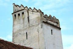 Warowny średniowieczny saxon kościelny Codlea wielki w Burzenland historycznym regionie, Transylvania, Rumunia Zdjęcia Stock