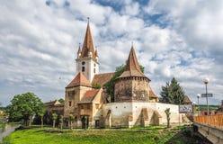Warowny kościół katolicki w Cristian Sibiu Rumunia UNESCO heri obraz royalty free