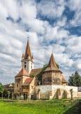 Warowny kościół katolicki w Cristian Sibiu Rumunia UNESCO heri obrazy stock