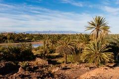 Warowny miasto Ait Benhaddou wzdłuż poprzedniej karawanowej trasy między Marrakech w Maroko z śniegiem i Sahara zakrywał atlant fotografia royalty free