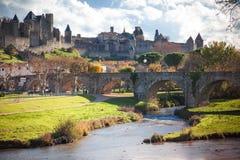 Warowny miasto Carcassonne obraz royalty free