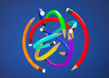 Warp Multicolour Pencils as ball. On a blue background Royalty Free Stock Image