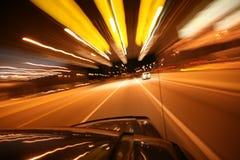 Warp Speed. Streaky lights on the Tollway Stock Photo