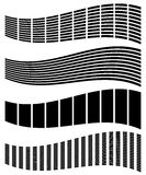 Warped, distorted rectangles, vertical, horizontal lines. Set of. Different EQ, equalizer shapes, elements. - Royalty free vector illustration Royalty Free Stock Images