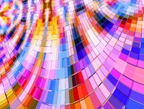 Warped Multi Colour Mosaic. Multi coloured tile mosaic background in a warp effect Stock Photo