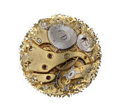 Warped and shattered clockwork mechnism. On white background Stock Images