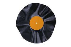 Warped Vinyl Record Orange Label Royalty Free Stock Photography