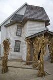 Warped Walls and Windows Hide Creepy Secrets inside Harrowing Halloween Haunted House Stock Photo