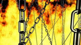 Warping through chains on fire stock footage