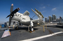 Warplane aboard Midway seacarrier Royalty Free Stock Images