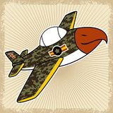 Warplane cartoon on splatter frame. Warplane with camouflage. Vector cartoon illustration, no mesh, vector on eps 10 Royalty Free Stock Photo