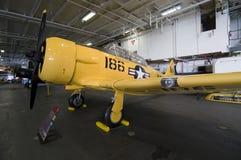 Warplane in hangar Stock Photography