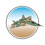 Warplane label. attacking fighter in the sky Stock Images