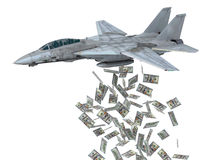 Warplane launching dollars instead of bombs Royalty Free Stock Photos