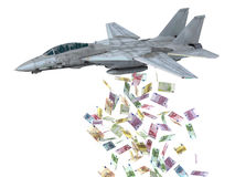 Warplane launching euro banknotes instead of bombs Stock Photography