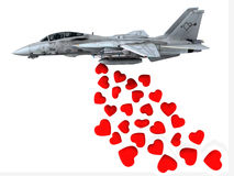 Warplane launching hearts instead of bombs Royalty Free Stock Images