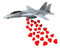 Warplane launching hearts instead of bombs Royalty Free Stock Image
