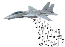 Warplane launching musical notes. Instead of bombs, 3d illustration Royalty Free Stock Images