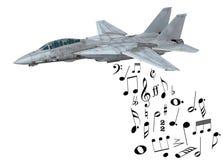 Warplane launching musical notes Royalty Free Stock Images