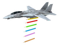 Warplane launching pencils instead of bombs Royalty Free Stock Images