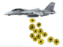 Warplane launching yellow flowers Royalty Free Stock Photo