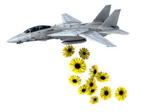 Warplane launching yellow flowers instead of bombs Royalty Free Stock Images