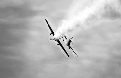 WARPLANE with smoke from the engine Stock Image