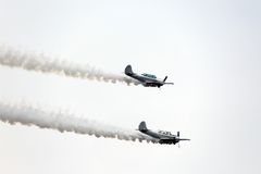 WARPLANE with smoke from the engine Stock Photography