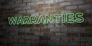 WARRANTIES - Glowing Neon Sign on stonework wall - 3D rendered royalty free stock illustration Stock Photos