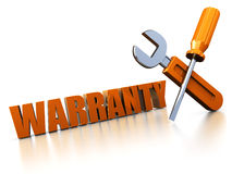 Warranty. 3d illustration of warranty sign with wrench and screwdriver Royalty Free Stock Photos