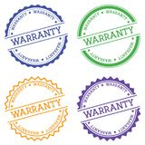 Warranty badge isolated on white background. Flat style round label with text. Circular emblem vector illustration Stock Photo
