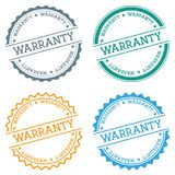 Warranty badge isolated on white background. Flat style round label with text. Circular emblem vector illustration Stock Illustration