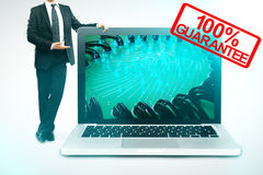 Warranty concept. Businessman showing huge laptop with abstract digital fingerprint on screen and 100% guarantee stamp. Warranty concept. 3D Rendering stock illustration