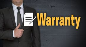 Warranty concept and businessman with thumbs up.  stock photos
