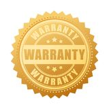 Warranty gold vector seal. Illustration isolated on white background Stock Images
