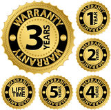 Warranty golden label set Royalty Free Stock Photo
