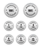 Warranty Guarantee Labels. 100 percent white Warranty Guarantee Labels Royalty Free Stock Photography