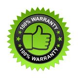 100% warranty label. Vector illustration of 100% warranty label with thumbs up sign. stamp or seal on isolated white background stock illustration