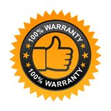 100% warranty label. Vector illustration of 100% warranty label with thumbs up sign. stamp or seal on isolated white background vector illustration
