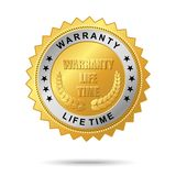 Warranty life time golden label. Vector golden badge named Warranty life time golden label for your business artwork Royalty Free Stock Image