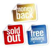 Warranty sales stickers set Royalty Free Stock Photos