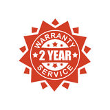Warranty and service sign. 2 year. Red ribbon symbol. Rubber Sea Royalty Free Stock Image