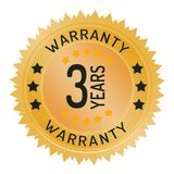 Warranty stamp isolated on white. Warranty stamp ribbon and badge style design element on white background Stock Image