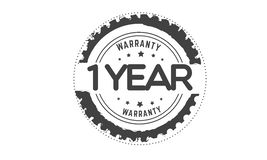Warranty 1 year stamp. Warranty 1 year black stamp logo vector guarantee Stock Photos