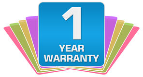 Warranty 1 Year Colorful Square Lotus Royalty Free Stock Images