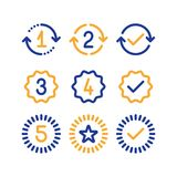 Warranty years signs, guarantee service period, approved mark, line icons. Years of warranty stamp set, one two three four five numbers, guarantee signs Stock Image