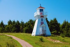 Warren Cove Range Front Lighthouse op Prins Edward Island royalty-vrije stock afbeelding