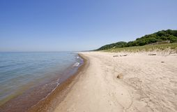 Warren Dunes State Park. Scenic view of sandy beach on Lake Michigan, Warren Dunes State Park, U.S.A royalty free stock image