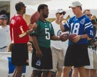 Warren Moon, Donovan McNabb y Peyton Manning Foto de archivo libre de regalías